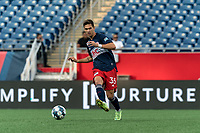 FOXBOROUGH, MA - JULY 23: Colin Verfurth #35 of New England Revolution II passes the ball during a game between Toronto FC II and New England Revolution II at Gillette Stadium on July 23, 2021 in Foxborough, Massachusetts.