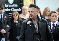 """COPY BY TOM BEDFORD<br />Pictured: Paul Black after the service out of the Jerusalem Baptist Chapel in Merthyr Tydfil, Wales, UK. Friday 18 August 2017<br />Re: The funeral of a toddler who died after a parked Range Rover's brakes failed and it hit a garden wall which fell on top of her will be held today at Jerusalem Baptist Chapel in Merthyr Tydfil.<br />One year old Pearl Melody Black and her eight-month-old brother were taken to hospital after the incident in south Wales.<br />Pearl's family, father Paul who is The Voice contestant and mum Gemma have said she was """"as bright as the stars""""."""