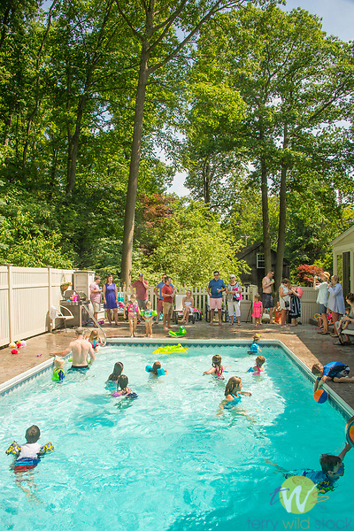 Swimming pool birthday party for 5 year old.