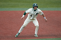 Craig Keuchel (9) of the Charlotte 49ers takes his lead off of first base against the Tennessee Volunteers at Hayes Stadium on March 9, 2021 in Charlotte, North Carolina. The 49ers defeated the Volunteers 9-0. (Brian Westerholt/Four Seam Images)
