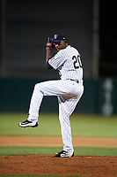 Lancaster JetHawks relief pitcher Alexander Guillen (20) delivers a pitch during a California League game against the Visalia Rawhide at The Hangar on May 17, 2018 in Lancaster, California. Lancaster defeated Visalia 11-9. (Zachary Lucy/Four Seam Images)