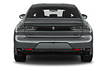 Straight rear view of 2021 Peugeot 508-PSE PSE-PHEV 5 Door Hatchback Rear View  stock images