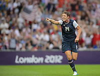 London, England - Thursday, August 9, 2012: The USA defeated Japan 2-1 to win the London 2012 Olympic gold medal at Wembley Arena. Abby Wambach celebrates Carli Lloyd's first goal. .