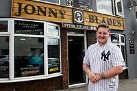 Pictured: Jonny Hamford, Owner of Jonny blades barber shop in Morriston, Swansea Wales, UK. Wednesday 04 September 2019