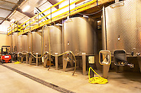 The vat hall with stainless steel fermentation vats. Domaine Gilles Robin, Les Chassis, Mercurol, Drome, Drôme, France, Europe