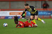 Josh Kay of Barrow AFC clashes with David Sesay of Crawley Town during Crawley Town vs Barrow, Sky Bet EFL League 2 Football at Broadfield Stadium on 12th December 2020