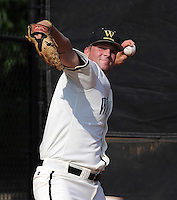 Starting pitcher Pete Noordsy (40) of the Wofford College Terriers in a game against the Appalachian State Mountaineers on April 28, 2012, at Russell C. King Field in Spartanburg, South Carolina. (Tom Priddy/Four Seam Images)