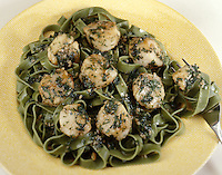 Sauteed Scallops on Spinach Noodles