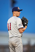 Fort Myers Miracle starting pitcher Tyler Jay (11) gets ready to deliver a pitch during a game against the Bradenton Marauders on April 9, 2016 at McKechnie Field in Bradenton, Florida.  Fort Myers defeated Bradenton 5-1.  (Mike Janes/Four Seam Images)