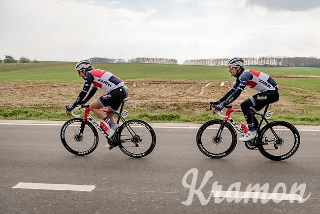 Koen de Kort (NED/Trek - Segafredo) bringing team leader Jasper Stuyven (BEL/Trek-Segafredo) back to the peloton after a nature break<br /> <br /> 61st Brabantse Pijl 2021 (1.Pro)<br /> 1 day race from Leuven to Overijse (BEL/202km)<br /> <br /> ©kramon