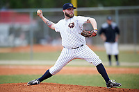 Western Connecticut Colonials relief pitcher Kyle Sanford (30) delivers a pitch during the first game of a doubleheader against the Edgewood College Eagles on March 13, 2017 at the Lee County Player Development Complex in Fort Myers, Florida.  Edgewood defeated Western Connecticut 3-0.  (Mike Janes/Four Seam Images)