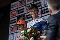 Race winner Emils Liepins (LTV/One Pro Cycling) on the podium <br /> <br /> 11th Heistse Pijl 2018<br /> Turnhout > Heist-op-den Berg 194km (BEL)