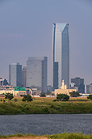Oklahoma City Skyline, with Devon Tower, Tallest building in the state. Completed 2012. Oklahoma River in foreground.
