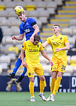 16.08.2020 Livingston v Rangers: Filip Helander rises to win the ball above Scott Pittman as Jack Hamilton watches on