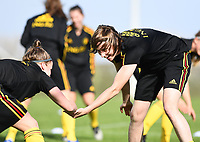 20190226 - LARNACA , CYPRUS :  Belgian Heleen Jaques (r) pictured during a Matchday -1 training from The Belgian Red Flames prior to their game against the women team of Slovakia , on Tuesday 26 February 2019 at the Alpha Sports Grounds in Larnaca , Cyprus . This will be the first game in group C for Belgium during the Cyprus Womens Cup 2019 , a prestigious women soccer tournament as a preparation on the European Championship 2021 qualification duels. PHOTO SPORTPIX.BE   DAVID CATRY