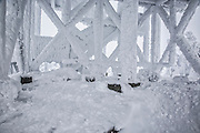 Summit of Cannon Mountain in extreme winter conditions in the White Mountains, New Hampshire USA