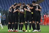 30th September 2021;  Stadio Olimpico, Rome, Italy;Europa League Football, SS Lazio versus Lokomotiv Moscow; Lokomotiv Moskov players huddle before the start