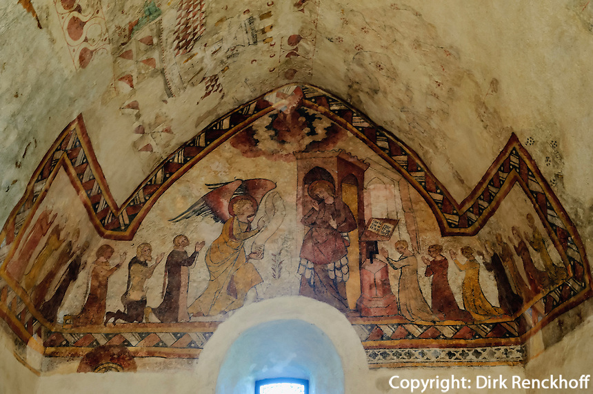 Fresken 13./14. Jh. in Fisherman's Chapel,  St.Brelade's Parish Church, Insel Jersey, Kanalinseln