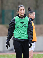 Madison Hudson (8 Charleroi) pictured during the warm up before a female soccer game between FC Femina White Star Woluwe and Sporting Charleroi on the 10 th matchday of the 2020 - 2021 season of Belgian Scooore Womens Super League , Saturday 19 th of December 2020  in Woluwe , Belgium . PHOTO SPORTPIX.BE | SPP | SEVIL OKTEM