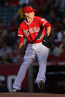 Garrett Richards #43 of the Los Angeles Angels pitches against the Seattle Mariners at Angel Stadium on June 5, 2012 in Anaheim,California. Los Angeles defeated Seattle 6-1.(Larry Goren/Four Seam Images)