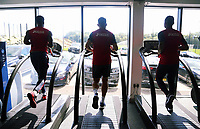 (L-R) Leroy Fer, Angel Rangel and Jordan Ayew exercise on treadmills in the gym during the Swansea City Training at The Fairwood Training Ground, Swansea, Wales, UK. Thursday 10 August 2017