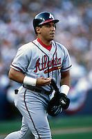 Andres Galarraga of the Atlanta Braves participates in a Major League Baseball game at Dodger Stadium during the 1998 season in Los Angeles, California. (Larry Goren/Four Seam Images)