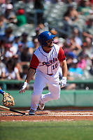 Stockton Ports second baseman Nate Mondou (10) starts down the first base line during a California League game against the Rancho Cucamonga Quakes at Banner Island Ballpark on May 17, 2018 in Stockton, California. Stockton defeated Rancho Cucamonga 2-1. (Zachary Lucy/Four Seam Images)