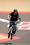 Ryan Guettler competes in the BMX Freestyle Park finals during X-Games 12 in Los Angeles, California on August 5, 2006.