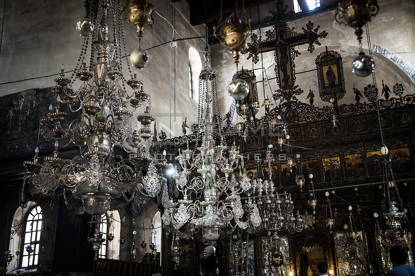 The central nave of the Bethlehem Nativity's church