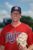 Elizabethton Twins pitcher Tanner Howell (50) poses for a photo before a game against the Bristol Pirates on July 29, 2018 at Joe O'Brien Field in Elizabethton, Tennessee.  Bristol defeated Elizabethton 7-4.  (Mike Janes/Four Seam Images)