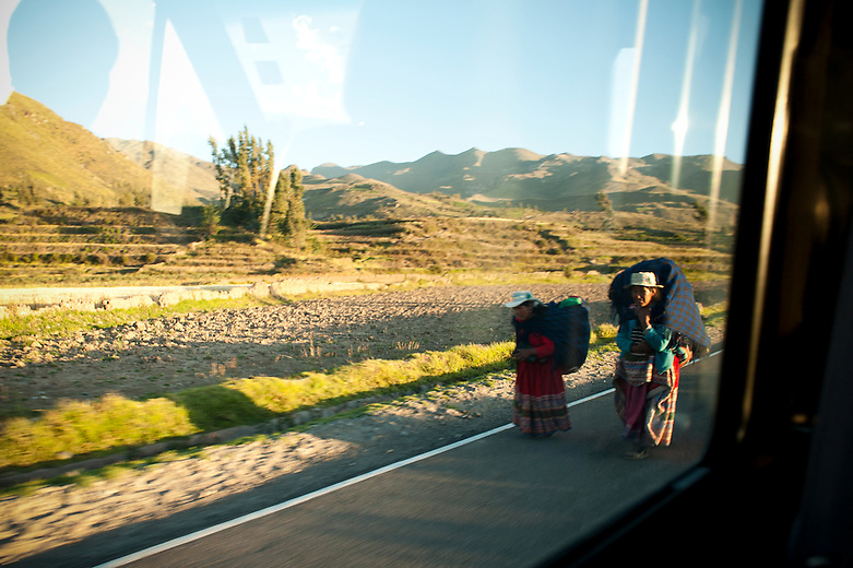 Passing terraces and mountains of the Colca Valley, one can witness women carrying heavy loads on their backs on the side of the road. With no transportation available, women walk for miles to their destination before beginning a hard day of work in the fields. Visitors to the villages of the Colca Canyon are reminded of how life used to be in a simpler time.