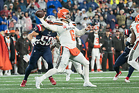 FOXBOROUGH, MA - OCTOBER 27: Cleveland Browns Quarterback Baker Mayfield #6 attempts a long pass down field during a game between Cleveland Browns and New Enlgand Patriots at Gillettes on October 27, 2019 in Foxborough, Massachusetts.