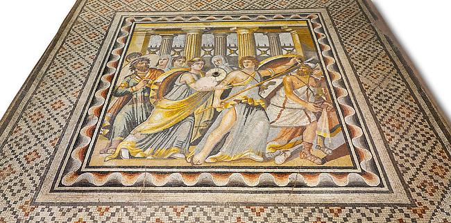 Roman mosaics - Achilles Mosaic.  Ancient Zeugama, 2nd - 3rd century AD . Zeugma Mosaic Museum, Gaziantep, Turkey.  Against a white background.