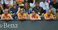 Arena Loire,  Trélazé,  France, 16 April, 2016, Semifinal FedCup, France-Netherlands, First match: Dutch bench watching Kiki Bertens, ltr: coach Martin Bohm, Arantxa Rus, team manager Guus van Berkel and Richel Hogenkamp.<br /> Photo: Henk Koster/Tennisimages