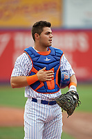 St. Lucie Mets catcher Brandon Brosher (25) before the first game of a doubleheader against the Charlotte Stone Crabs on April 24, 2018 at First Data Field in Port St. Lucie, Florida.  St. Lucie defeated Charlotte 5-3.  (Mike Janes/Four Seam Images)