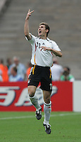 German forward (11) Miroslav Klose celebrates his game-tying goal in the second half.  Germany defeated Argentina on penalty kicks after leaving the scored tied in regulation, 1-1,  in their FIFA World Cup quarterfinal match at FIFA World Cup Stadium in Berlin, Germany, June 30, 2006.