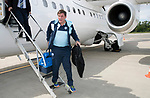 FK Trakai v St Johnstone…05.07.17… Europa League 1st Qualifying Round 2nd Leg<br />St Johnstone Manager Tommy Wright steps off the aircraft after landing in Vilnius, Lithuania<br />Picture by Graeme Hart.<br />Copyright Perthshire Picture Agency<br />Tel: 01738 623350  Mobile: 07990 594431