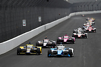 28th May 2021; Indianapolis, Indiana, USA;  NTT Indy Car Series car driver Alex Palou (10) leads a pack of cars down the front straightaway during Miller Lite Carb Day as teams prepare for the 105th running of the Indianapolis 500