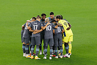 ST PAUL, MN - SEPTEMBER 27: Minnesota United FC players huddle during a game between Real Salt Lake and Minnesota United FC at Allianz Field on September 27, 2020 in St Paul, Minnesota.
