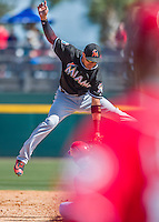 7 March 2016: Miami Marlins infielder Miguel Rojas in action during a Spring Training pre-season game against the Washington Nationals at Space Coast Stadium in Viera, Florida. The Nationals defeated the Marlins 7-4 in Grapefruit League play. Mandatory Credit: Ed Wolfstein Photo *** RAW (NEF) Image File Available ***