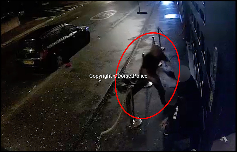 BNPS.co.uk (01202 558833)Pic: DorsetPolice/BNPS<br /> <br /> A screenshot of CCTV footage showing Kevin Boyle start an altercation with two bouncers at the Camel Club, in Bournemouth at around 4:15am on Friday 18th August 2017.<br /> <br /> Kevin Boyle is circled in red.<br /> <br /> A knife maniac who nearly killed an innocent bystander he mistook for someone he had a row with because both men had ginger hair was today jailed for 21 years.<br /> <br /> Kevin Boyle waited outside a Bournemouth nightclub for the red-headed reveller who had shoved him two hours earlier to appear.<br /> <br /> When clubber Glen Morrant walked out Boyle began to follow him by mistake because he was wearing similar clothes to the first man and also had ginger hair.<br /> <br /> Boyle slashed the 19-year-old by the throat. He was sentenced today at Winchester Crown Court.