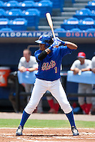 Jordany Valdespin (1) of the St. Lucie Mets during a game vs. the  Clearwater Threshers May 30 2010 at Digital Domain Park, Port St. Lucie Florida. St. Lucie won the game against Clearwater by the score of 3-2. Photo By Scott Jontes/Four Seam Images