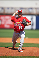 Palm Beach Cardinals relief pitcher Kyle Grana (54) delivers a warmup pitch during a game against the Charlotte Stone Crabs on April 10, 2016 at Charlotte Sports Park in Port Charlotte, Florida.  Palm Beach defeated Charlotte 4-1.  (Mike Janes/Four Seam Images)