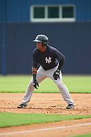 GCL Yankees West third baseman Griffin Garabito (1) leads off first base during the first game of a doubleheader against the GCL Yankees East on July 19, 2017 at the Yankees Minor League Complex in Tampa, Florida.  GCL Yankees West defeated the GCL Yankees East 11-2.  (Mike Janes/Four Seam Images)