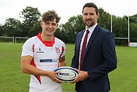 Ulster Rugby Schools 2018-2019<br /> <br /> Down High School player Greg Hutley with Danske Bank representative Ian Russell.<br /> <br /> Photo by John Dickson / DICKSONDIGITAL