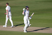 Rob Yates celebrates his century during Warwickshire CCC vs Essex CCC, LV Insurance County Championship Group 1 Cricket at Edgbaston Stadium on 25th April 2021