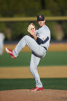Richmond Spiders relief pitcher Aaron Newman (13) in action against the Wake Forest Demon Deacons at David F. Couch Ballpark on March 6, 2016 in Winston-Salem, North Carolina.  The Demon Deacons defeated the Spiders 17-4.  (Brian Westerholt/Four Seam Images)