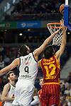 Real Madrid´s Felipe Reyes and Galatasaray´s Gonlum during 2014-15 Euroleague Basketball match between Real Madrid and Galatasaray at Palacio de los Deportes stadium in Madrid, Spain. January 08, 2015. (ALTERPHOTOS/Luis Fernandez)