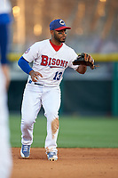 Buffalo Bisons shortstop Gregorio Petit (13) during a game against the Syracuse Chiefs on July 3, 2017 at Coca-Cola Field in Buffalo, New York.  Buffalo defeated Syracuse 6-2.  (Mike Janes/Four Seam Images)