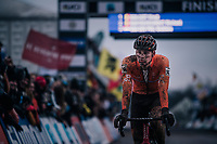 Mathieu van der Poel (NED/Corendon-Circus) crossing the finish line a dissapointed 3rd<br /> <br /> Elite Men's Race<br /> UCI CX Worlds 2018<br /> Valkenburg - The Netherlands